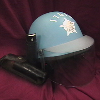 1960&#039;s Chicago Police Riot Helmet with Tear Gas Can and Carrier - Hats