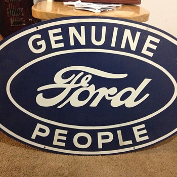 vintage &quot;Genuine Ford People&quot; steel sign