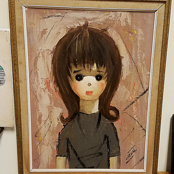 Large eyed Girl original 1960's Painting. - Visual Art