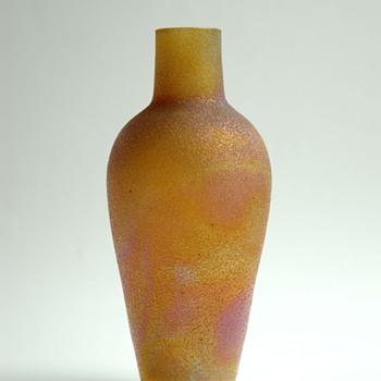 iridescent acid etched / frosted vase by Cristallerie de Pantin (Stumpf, Touvier, Viollet & C°)