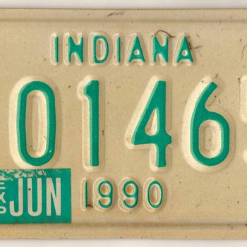 1990 - Motorcycle License Plate (Indiana)