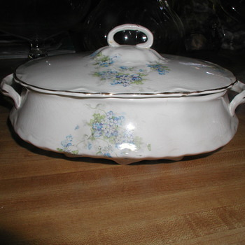 "Gorgeous Antique White China Serving Dish & Lid with Blue Flowers & Gold Accents - Stamp Reads partial ""TRC 7 20..."""