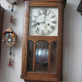 Antique 1920's German HAC chiming wall clock. - Clocks