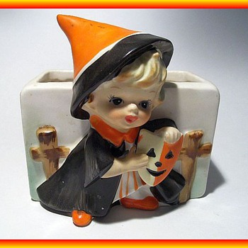 Vintage RELPO Halloween Small Planter -- Japan - Art Pottery