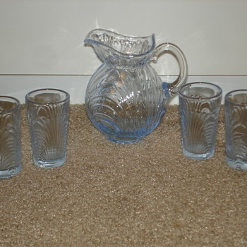 Tiny Depression Glass Pitcher and Glasses