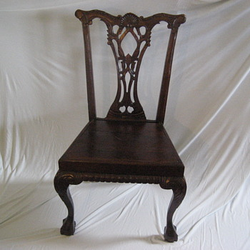 Antique Chippendale Style Shell Back Side Chair (possibly Ireland Descent Mid to Late 1700's))    - Furniture