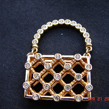 Gold Marked Swarovski Rhinestone Purse Jewelry - Costume Jewelry
