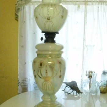 Intriguing 3 Part Blown Multi-Colored Glass Oil Lamp - Lamps