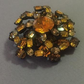 Schreiner Golden Rhinestone Brooch