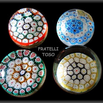 4 Art Glass Paperweights -- All Fratelli Toso -- Murano Art Glass - Art Glass