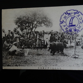 Photo Postcard Bear association with Ainu People