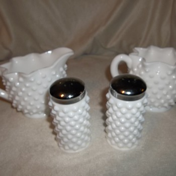 Fenton hobnail table setting