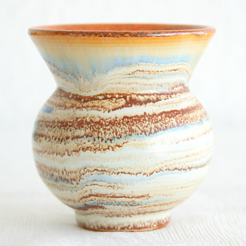 Mystery spittoon-shaped stoneware vase with interesting detailed glaze