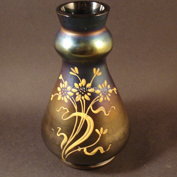 Bohemian Iridescent Enameled Vase - Art Glass