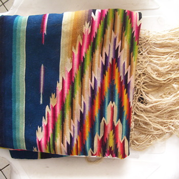 Blanket from Mexico 1950, FINE WEAVE, VIVID-- KEPT IN MOM'S  AIR COOLED STORAGE - Rugs and Textiles