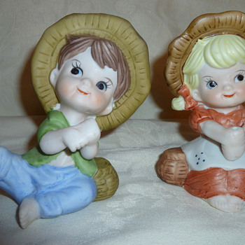 Porcelain figurines little boy and girl fishing    - Art Pottery