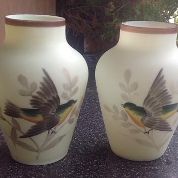 Victorian uranium, painted vases. - Glassware