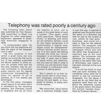 Telephony Was Rated Poorly A Century Ago