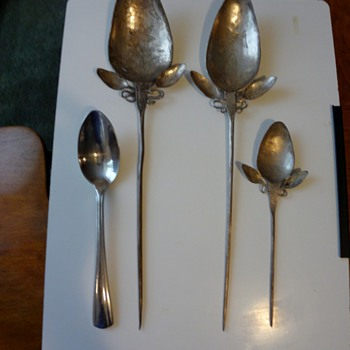 silver hand pounded and eatched graduating spoons - Sterling Silver