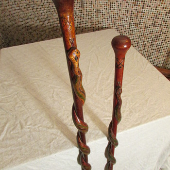 WWI His & Her Walking Sticks Carved By Austrian POW - Military and Wartime