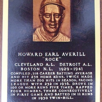 "Baseball HOFer Earl ""Rock"" Averill autographed postcard"