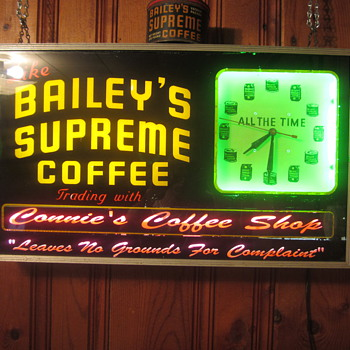 Bailey's supreme coffee neon clock - Advertising
