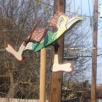 Folk Art Road runner yard ornament, bikes