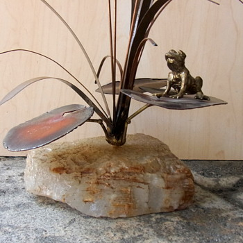 Cattails, Lilypads and a Bronze Frog Sculpture Attributed to Curtis Jere