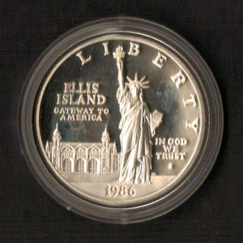 1986 - Statue of Liberty Proof $1 Silver Coin - US Coins