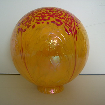 Czech Art Deco Globe Lamp Shade - Art Glass