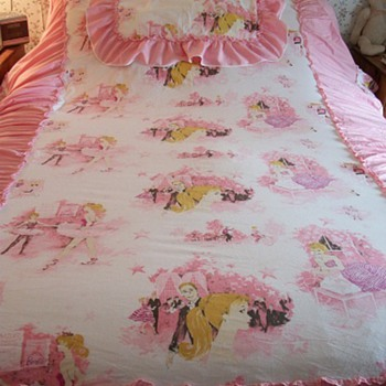 Vintage 1960's Barbie Bedspread w/ Sham for Twin Sized Bed - Dolls