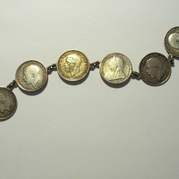 Very Nice Bracelet with Eight 3-Pence Coins - World Coins