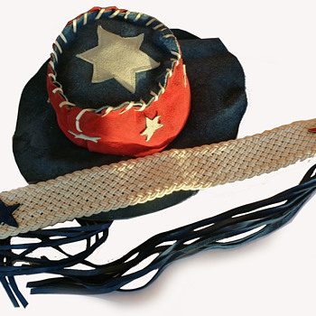 #50 ~ 1960s RWB Suede American Flag Hippie Counter Culture Hat & Sash