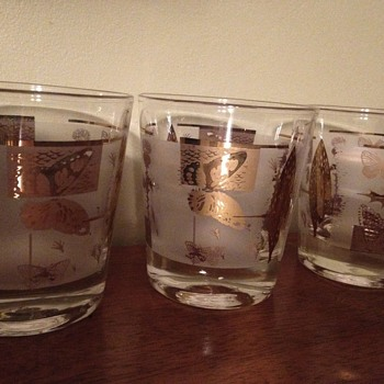 Set of gold plated glasses - Glassware