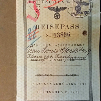 "1939 German ""J"" marked passport for Holocaust survivor  - Paper"