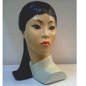 "Marwal Ind. Inc. ""Asian Beauty"" 10"" Chalkware Bust by Brower/ Circa 1965"
