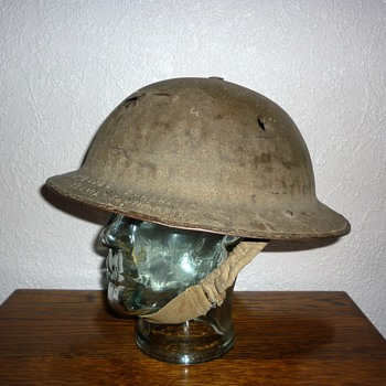 Dunkirk. British WWI helmet re issued WWII British Expeditionary Force.