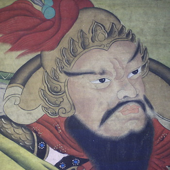 Chinese Scroll Painting, 3/3, Unknown God Of War,Very Old, late 1800,early 1900 - Asian