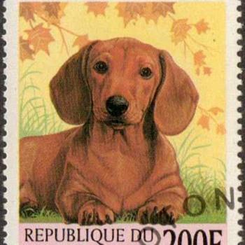 "1998 - Benin ""Dachshund"" Postage Stamp - Stamps"