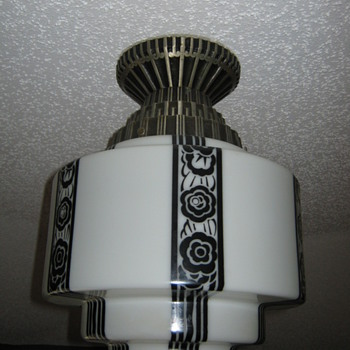 Art Deco Light fixture and globe
