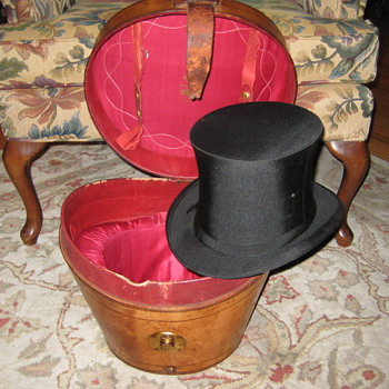 Antique Collins & Fairbanks Leather Top Hat Case w/Original Top Hat - Hats