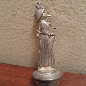 Metal Stork Woman Bottle Stopper