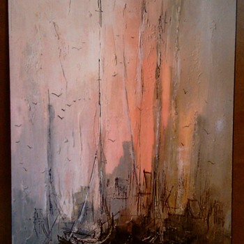 Print of Mid Century Abstract Harbor Scene