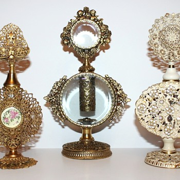 Filigree Metalwork Perfume Bottles - Circa 1950s