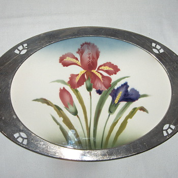Series of German Serving Trays - #2 WMF Art Nouveau White Metal Porcelain - Breweriana