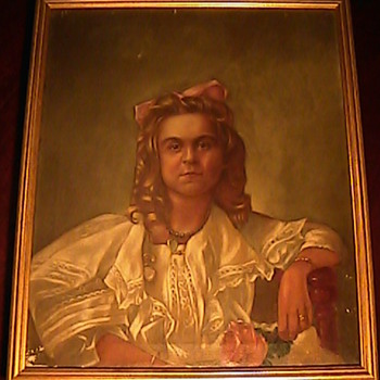 Victorian Oil Painting Lady with Jewels James A. Sullivan - Folk Art