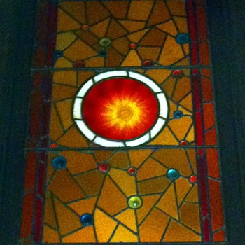 leaded multi-colored bullseye stained glass window from childhood home - Art Glass