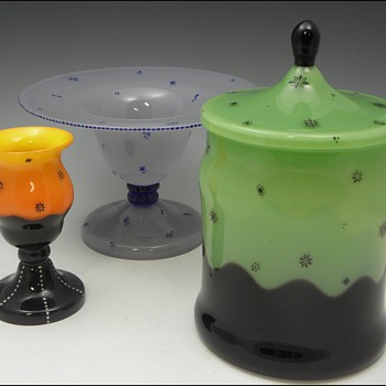 Loetz - Ausführung 165 & 218 examples, all with Dagobert Peche style enameling - Art Glass