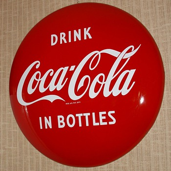 "Coca-Cola Porcelain 36"" Disc (Button) Sign...Drink Coca-Cola In Bottles...Excellent Condition...1950's - Coca-Cola"