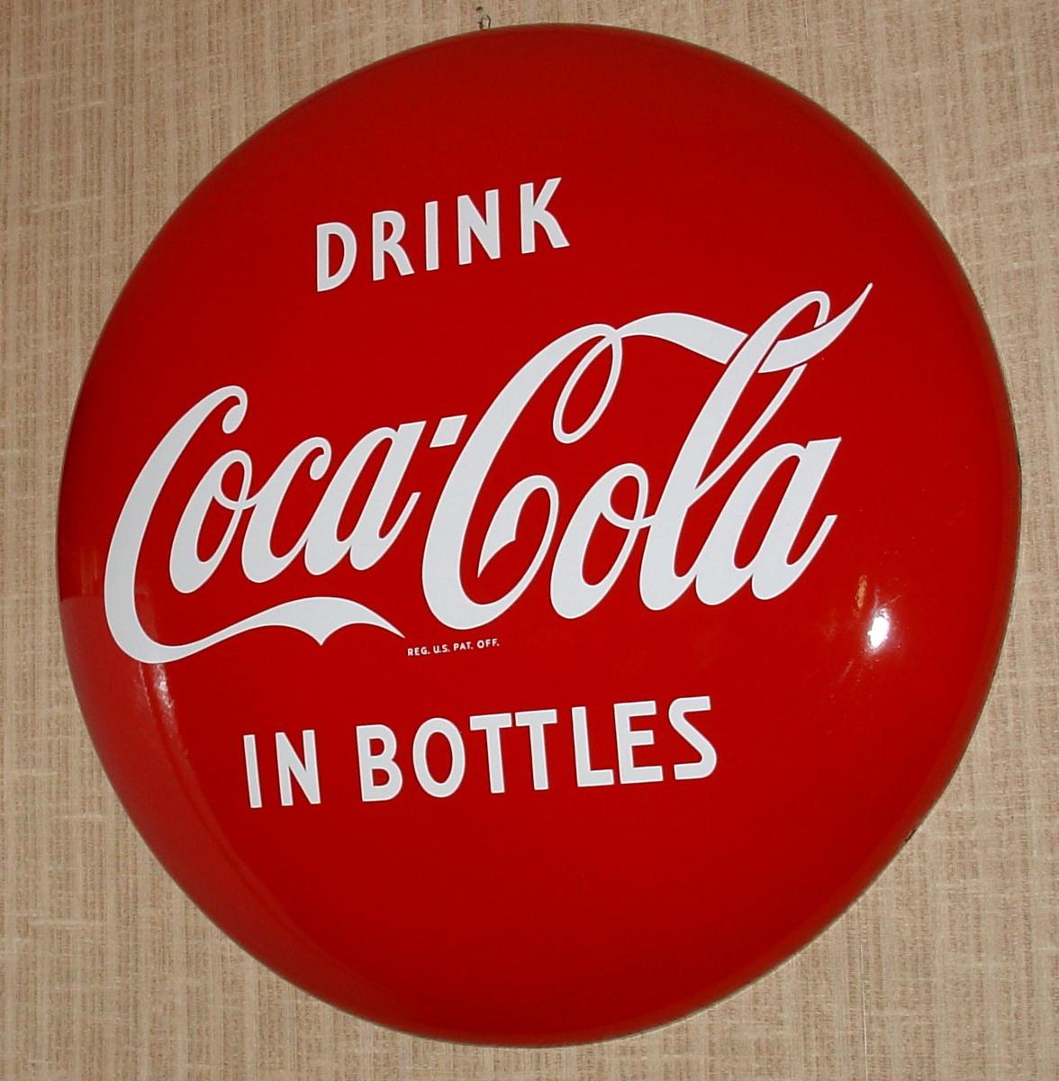 Coca Cola Porcelain 36 Quot Disc Button Sign Drink Coca